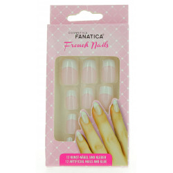 Faux Ongles avec colle 'FRENCH MANUCURE ROSE'
